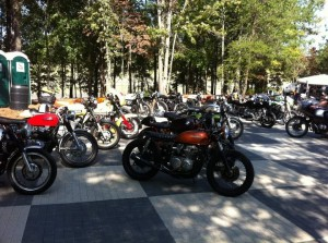 The bikes lined up for the cafe racer bike show at Barber Vintage Festival 2011